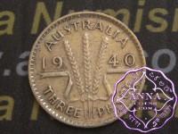 Australia 1940 Threepence Average Circulated Condition