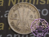 Australia 1941 Threepence Average Circulated Condition