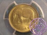Belgian Congo 1949 Franc PCGS MS65