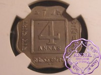 British India 1920b 4 Anna NGC MS62