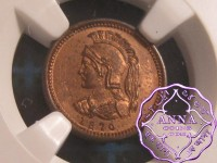 Canada 1870 Anticosti Island 1/8 Penny Copper Token NGC MS63RB (2)