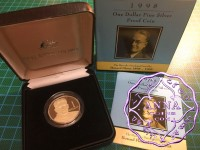 Australia 1998 $1 silver proof Coin w/box & COA