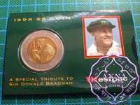 Australia 1996 Don Bradman 5 Dollar Bi Metal Coin on Card of Issue Westpac