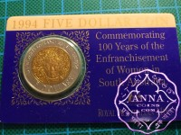 Australia 1994 Womens Enfranchisement 5 Dollar Bi Metal Coin on Card of Issue