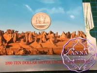 Australia 1990 State Series $10 Silver UNC Coin in Card