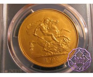 Great Britain 1902 Gold Proof Five Pounds PCGS PR62