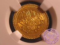 Turkey 1822 Mahmud II gold Surre Altin NGC MS65