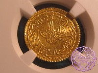 Turkey 1824 Mahmud II gold Adli Altin NGC MS65
