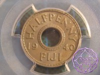 Fiji 1940 Halfpenny PCGS AU58