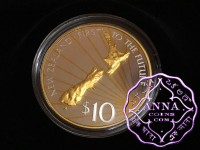 New Zealand 2000 Millennium Gold Plated Silver Proof Coin With COA