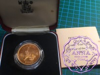 Hong Kong 1987 $1000 Gold Coin With COA