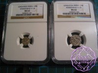 India 1888-1903 Hyderabad 1/4 & 1/8 Rupees Pair NGC MS63