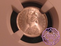 British India 1862 Victoria 2 Anna & 1/4 & 1/2 Rupee (3 Coins)  NGC MS63-64