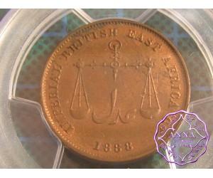 Monbasa 1888 C/M Pice, PCGS MS63RB