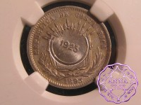 Costa Rica 1923/1893 Counterstamp 50 Centimos NGC AU58