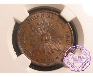 Uruguay1869 A Republic Set of 1 2 & 4 Centesimos NGC AU-MS64BN (3 Coins)