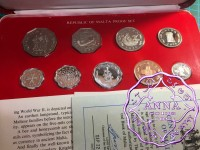 Malta 1976 Proof Set 9 Coins With COA