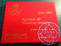 Monaco 1974 Rainier III Mint Set 8 Coins