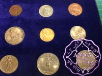 Vatican 1936 Pius XI 9 Coins Mint Set With Gold 100 Lire