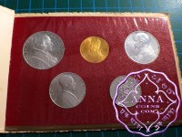 Vatican 1950 Pius XII 5 Coins Mint Set With Gold 100 Lire