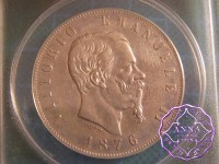 Italy 1876 Vittorio Emanuele II 5 Lire ANACS EX45details