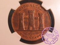 Gibraltar 1842/1 British Colony 2 Quart NGC MS63RB