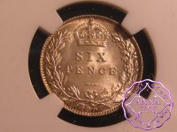 Great Britain 1907 Edward VII 6 Pence NGC MS65
