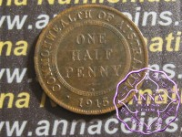 Australia 1915 Halfpenny Average Circulated Condition