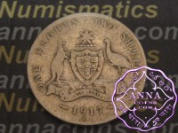 Australia 1917 Florin Average Circulated Condition