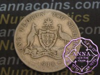 Australia 1918 Florin Average Circulated Condition