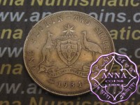 Australia 1934 Florin Average Circulated Condition