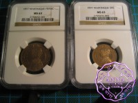 Martinique 1897 French Colony 50C & 1 Franc Pair NGC MS63