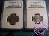 Guadeloupe1903 French Colony 50C & 1 Franc Pair NGC MS64