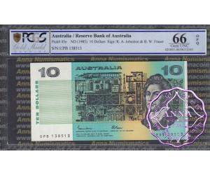 1985 $10 R309 Johnston/Fraser PCGS 66 OPQ