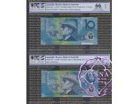 1993 & 98 $10 Matching Pair PCGS 64 66 OPQ