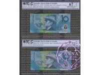 1993 & 98 $10 Matching Pair PCGS 67 OPQ