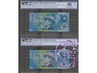 1993 & 98 $10 Matching Pair PCGS 66 68 OPQ