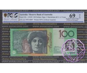 1999 R618bF AA99 $100 Macfarlane/Evans PCGS 69 OPQ