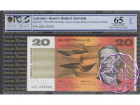 1994 $20 Fraser/Evans ADK Black Opt PCGS 65 OPQ