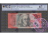 1994 $20 AA94 Black Opt R416aF Fraser/Evans PCGS 67 OPQ