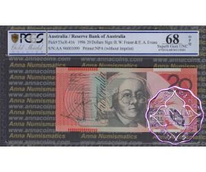 1996 $20 R416cF AA96 Fraser/Evans PCGS 68 OPQ