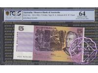 1985 $5 R209a Johnston/Fraser PCGS 64