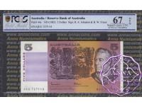 1985 $5 R209a Johnston/Fraser PCGS 67 OPQ