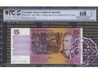 1985 $5 R209a Johnston/Fraser PCGS 68 OPQ