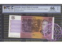 1990 $5 R212 Fraser/Higgins PCGS 66 OPQ