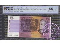 1991 $5 R213 Fraser/Cole Pair 999-000 PCGS 66 OPQ