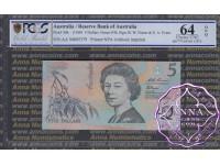 1994 $5 AA94 Fraser/Evans PCGS 64 OPQ