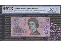 2002 $5 220aF Macfarlane/Henry PCGS 67 OPQ