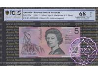 2002 $5 220aF Macfarlane/Henry PCGS 68 OPQ