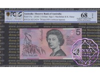 2002 $5 220aL Macfarlane/Henry PCGS 68 OPQ
